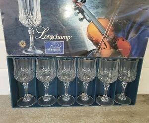 NEW in Box 6 Cristal d'Arques Longchamp Wine Glasses Stemware 24% Lead Crystal