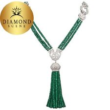 Unique Green Emerald and Diamond Tassel Necklace