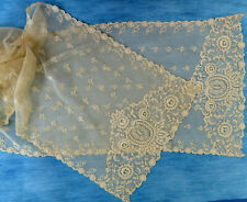 More details for an antique machine embroidered lace shawl or scarf
