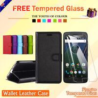 For Motorola Moto G4 Plus Play G5 Plus E5 Wallet Leather Flip Case Card Cover AU