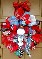 Handmade Winter Deco Mesh Snow Man Christmas New Year Holiday Wreath Door Decor