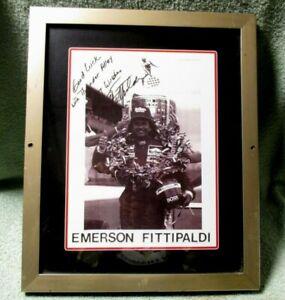 "Autographed Photo Emerson Fittipaldi 7 1/2 X 10 "" Marlboro  Framed Nice"