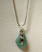 Sea Glass Necklace flip flop charm Beach Glass Jewlery Sea Ocean Pendant