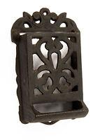 Vintage Cast Iron Black Ornate MATCH Matchbook Matches Holder Wall Mount