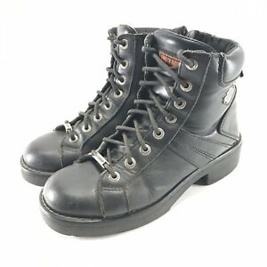 Harley Davidson Motorcycle Boots Womens 8.5 W Lace Up Side Zip Leather Black
