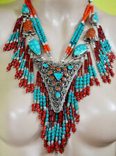 Sterling Silver Necklace Ethnic Handmade Turquoise Tibetan Tribal Jewelry PPL
