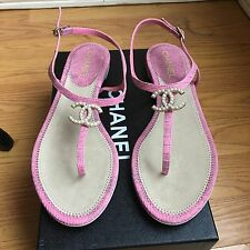 NEW Authentic NEW NIB Chanel Matte Pink Python Pearl CC Logo Sandals Flats $1095