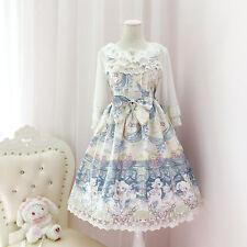 Dress Braces skirt bowknot Falbala Long skirt Lolita Hit color Lace kawaii Cosy