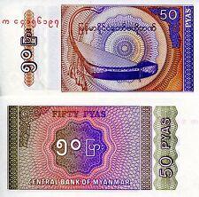 Myanmar 50 Pyas Banknote World Paper Money Unc Currency (Burma) Pick p68 Bill