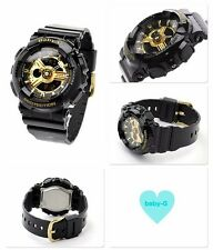 BA-110-1A Black Gold Casio Baby-G Ladies Watches Resin Band Fashion Brand-New