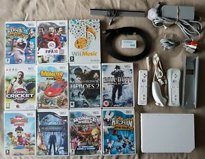 White Wii Console + 11 Games + 2 Official Remotes HDMI Adapter RVL-001 Nintendo