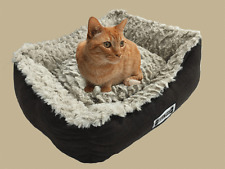 Padded Cat and Dog Bed, Pet Basket, Faux Suede, Faux Sheepskin Lining - Brown