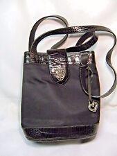 Brighton Crossbody Handbag, Purse  Black leather & nylon canvas  #JS