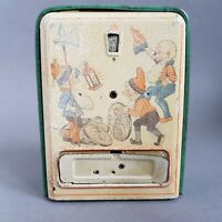 Rare Tin Plate Childs Money Box Piggy Bank Coin Counter Automatic Door c1920s A6