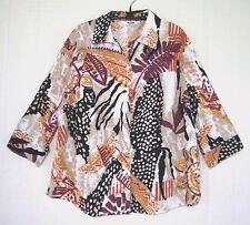 ALIA PETITES Button Down Shirt Top Orange Black Floral Print 100% Cotton Size 8