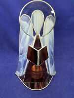 "Vintage Leaded Glass Christmas Candle Holder Tealight Angel Suncatcher 9"" Tall"