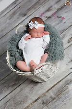 Princess-Dreams Mädchen Baby Haarband weiß Taufe Babyfotografie Schleife Kleid
