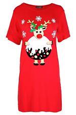 Womens Ladies Oversized Xmas Gingerbread Climb Christmas Baggy Tee Shirt Dress