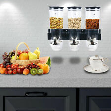 Cereal Dispenser Triple Dry Food Snack Grain Canister Plastic Kitchen Storage