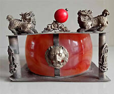 Chinese, collectable, old ,tibet silver,red jade , ashtray