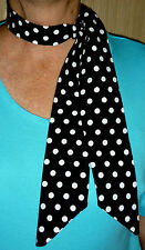 ROCKABILLY/ROCK N ROLL NECK SCARF HAIR TIE HEADBAND BLACK & WHITE SMALL SPOT NEW