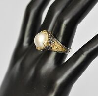 Konstantino Sz 9 Pearl Solitaire Ring 18K Yellow Gold Sterling Silver Thalia New