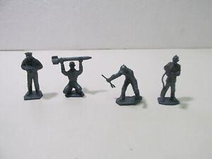 "Set Of 4 Blue Plastic 2"" Army Men Figures Toy Lot t4090"