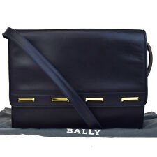Authentic BALLY Logos 2Way Shoulder Clutch Bag Leather Navy Blue Italy 09F892