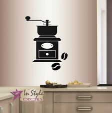 Vinyl Wall Decal Coffee Grinder Beans Kitchen Café Coffee Shop Art Sticker 599