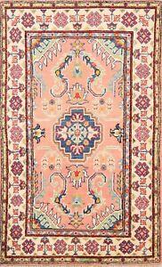 Vegetable Dye Geometric Super Kazak Oriental Area Rug Hand-knotted 3'x4' Carpet