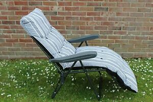 GREY Stripe Garden Sunlounger Folding Chair With Padded Cushion SCRATCHED FRAME