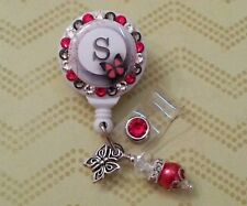 Personalized Red Butterfly card reel/ id badge holder for nurses, teachers...
