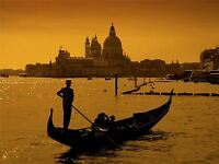 GONDOLIER VENICE ITALY SILHOUETTE PHOTO ART PRINT POSTER PICTURE BMP642A