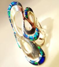 AMAZING RIBBONS Knuckle to Knuckle BRILLIANT Black FIRE OPAL Ladies Ring 10