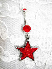 DAZZLING RED GLITTER PEWTER STAR w DBL RED CZ BELLY BUTTON RING BODY PIERCING