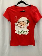 """HOLIDAY TIME Sz Small (4-5) Red Santa """" Belive"""" Tee"""