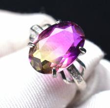 Natural Ametrine Purple Yellow Crystal Gemstone Adjustable Ring AAA