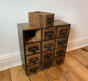 Oak Drawers, Apothecary, Spice Cabinet, Rustic, Industrial, Vintage, Index Card