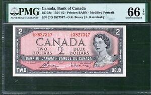 Canada BC 38c $2 1954 PMG 66 UNC Rare