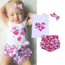 UK 3PCS Toddler Kids Baby Girls Summer Clothes T-shirt Tops+Pants Outfits Set