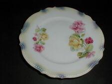 PK Silesia Konigszelt Porcelain Yellow & Pink Rose Lustreware Bread Plate (sau22