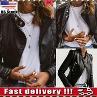 Womens Ladies PU Leather Jacket Zipper Biker Jacket Blazer Coat Tops Outwear