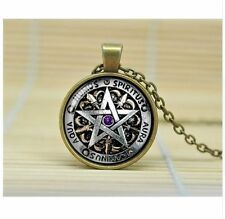 Wiccan Protection charm inspirational black magick Pagan Pentagram Necklace