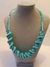 """""""Water Waves"""" Cellini spiral necklace, beaded necklace, handmade, gift for her"""