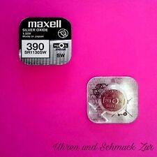 1x Maxell 390 Uhren Batterie Knopfzelle SR1130SW AG10 Silberoxid Blisterware Neu