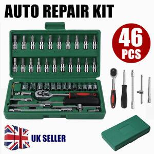 46PCS Car Ratchet Torque Wrench Kit Hand Tools 1/4-Inch Spanner Socket Set UK