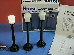 """K-line lamp posts """"O"""" size, all tested & light right up. In box instructions C-8"""