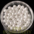 New 30pcs 8mm Round Glass Pearl Loose Spacer Beads Jewelry Making Pure White