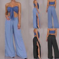 Simple Femme Coton Pantalon évasé à jambe large Fendu Taille elastique Plus