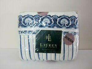Vintage LRL Ralph Lauren Queen Flat Sheet Porcelain Blue Stripe/Paisley New Pkg